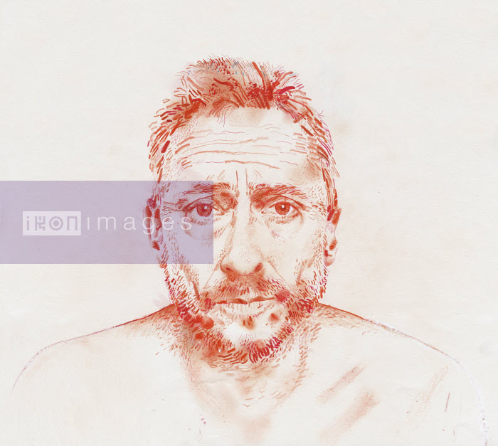 Coloured pencil drawing of anxious man - Derek Bacon Unplugged
