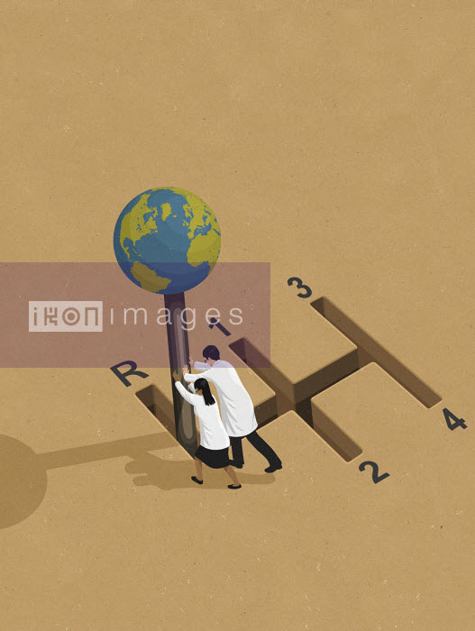 Scientists pushing globe gearstick into reverse John Holcroft