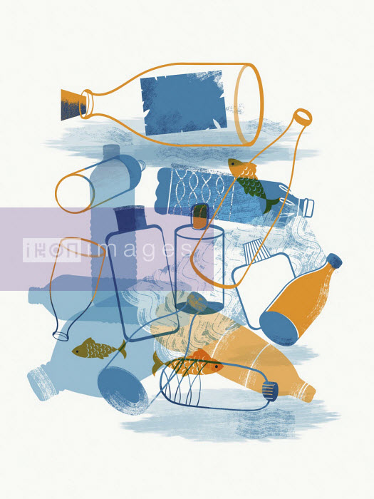 Fish swimming among lots of plastic rubbish - Josy Bloggs
