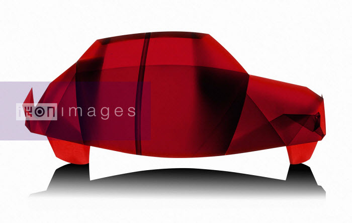 Bertrand Lepautremat - Red car made from translucent folded paper