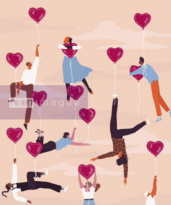 Alice Mollon - Lots of young people floating from heart shaped balloons