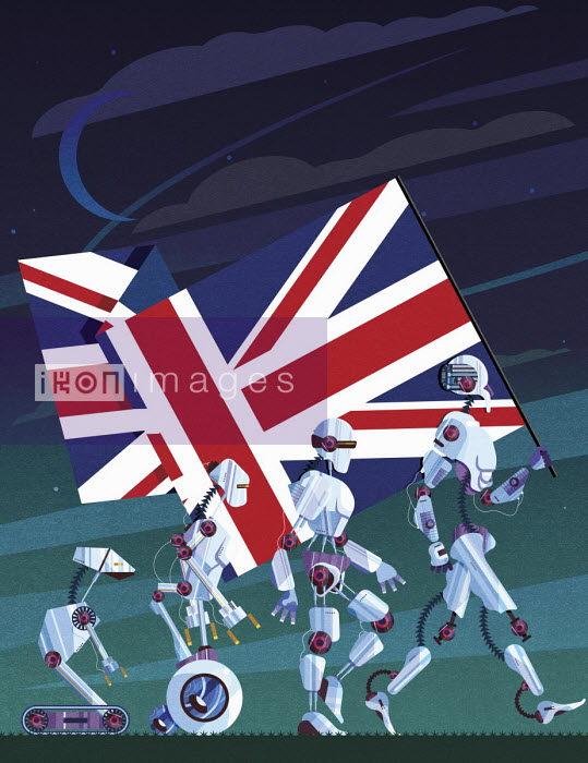 James Boast - Evolution of robots carrying Union Jack flag