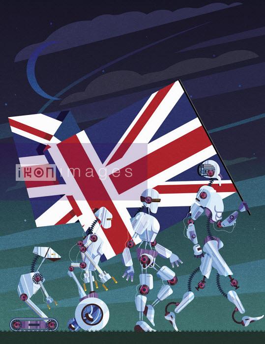 Evolution of robots carrying Union Jack flag - James Boast