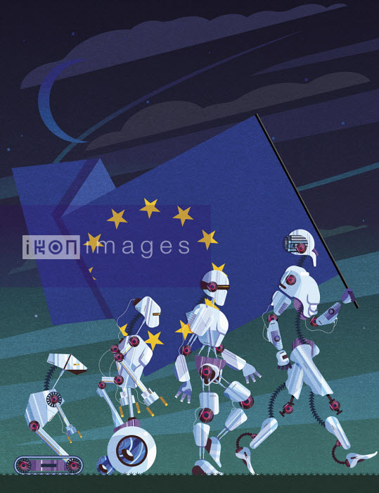 Evolution of robots carrying European Union flag - James Boast