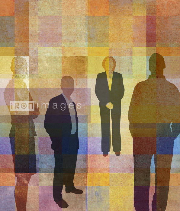 Portrait of businessmen and businesswomen against abstract background Roy Scott