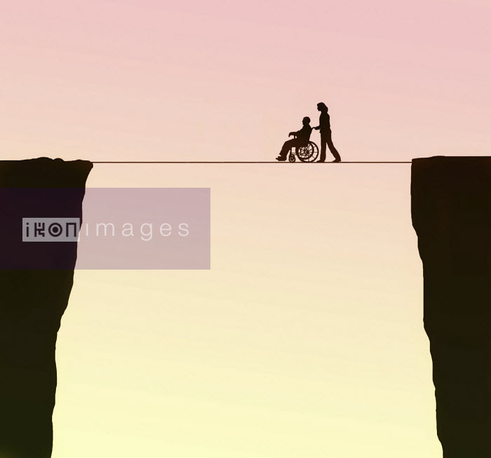 Gary Waters - Carer pushing elderly man in wheelchair along tightrope