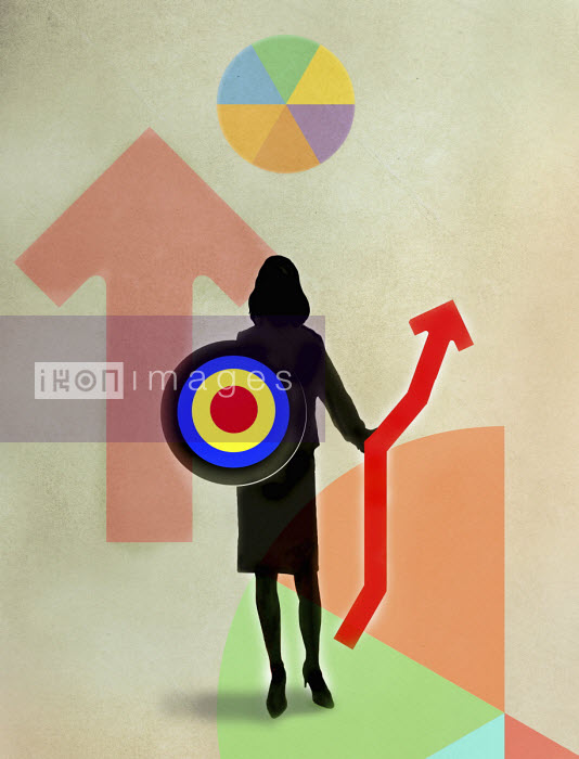 Gary Waters - Businesswoman warrior holding target and graph as shield and spear