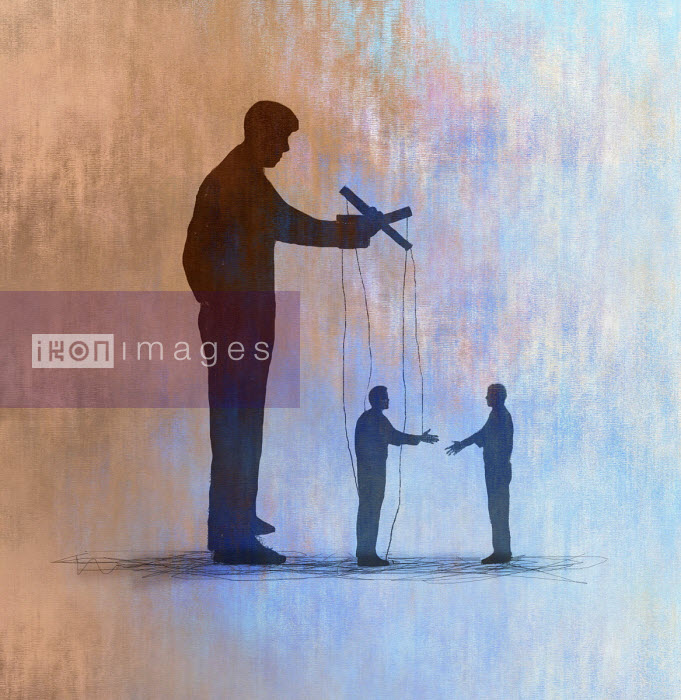 Gary Waters - Puppeteer controlling businessmen shaking hands