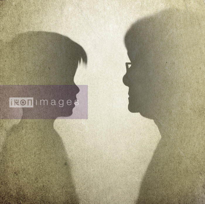 Silhouette profiles of young girl and elderly woman - Gary Waters