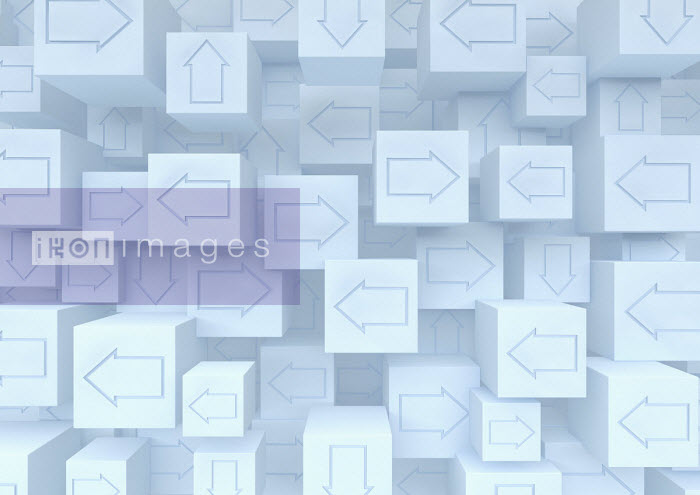 Heap of cubes with arrows pointing in different directions - Ben Miners