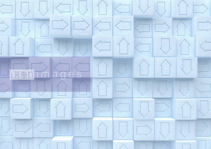 Grid of cubes with arrows pointing in different directions - Ben Miners