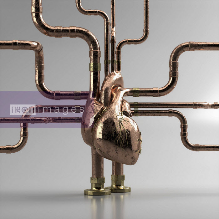 Oliver Burston - Metal pipework connected to human heart