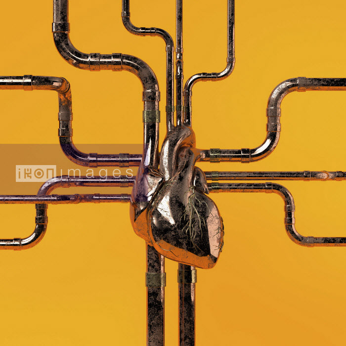 Metal pipework connected to human heart - Oliver Burston