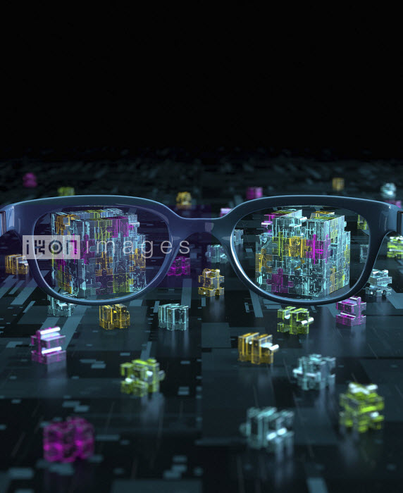 Oliver Burston - 3D pieces of computer circuit board jigsaw through spectacles