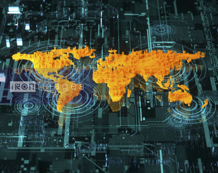 Oliver Burston - Three dimensional world map over high tech circuit board