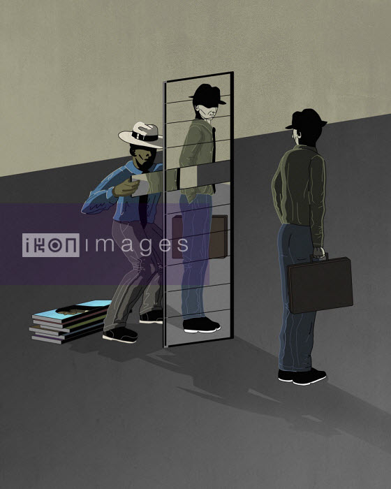Fergs - Thief removing part of man's reflection from mirror