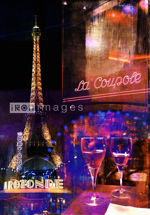 Mike Moran - Eiffel Tower and café life in Paris at night