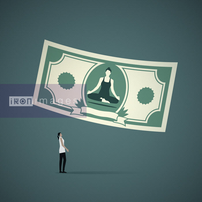 Mark Airs - Woman levitating in lotus position on banknote