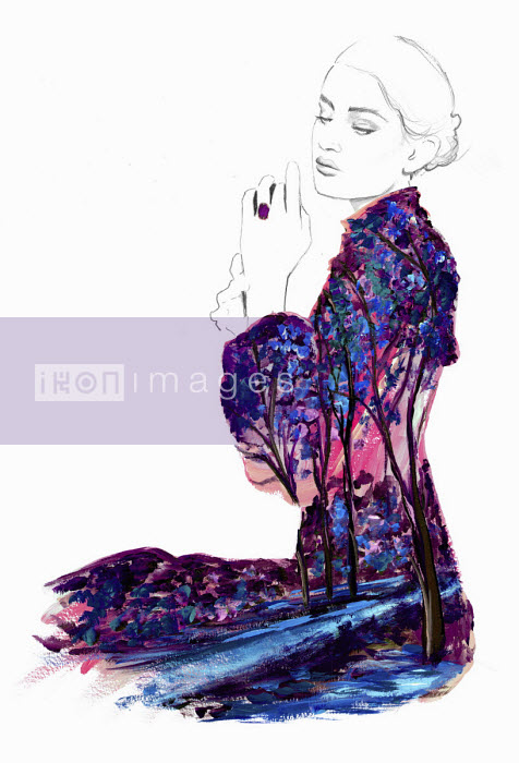 Fashion illustration of contemplative young woman wearing landscape pattern dress - Jessica Durrant