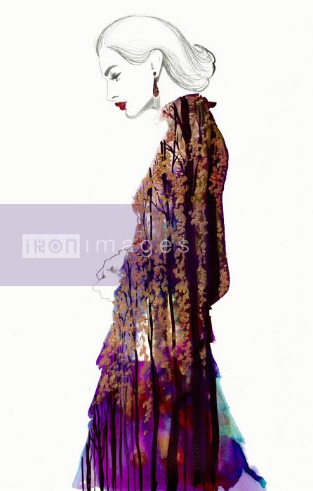 Jessica Durrant - Fashion illustration of beautiful woman wearing ornate dress