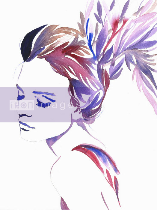 Fashion illustration of woman with multi coloured hair morphing into leaves Jessica Durrant