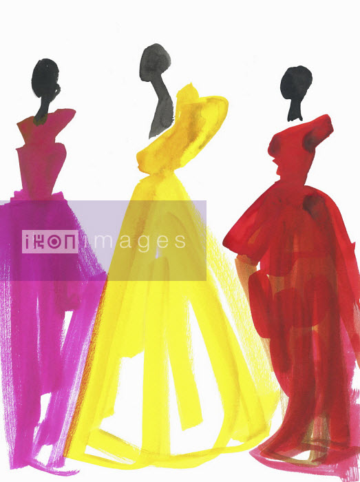 Fashion illustration of three models in evening gowns Jessica Durrant