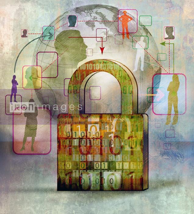 Locked data padlock on global communications network Roy Scott