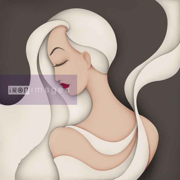 Wai - Fashion illustration of beautiful woman with long hair and flowing material