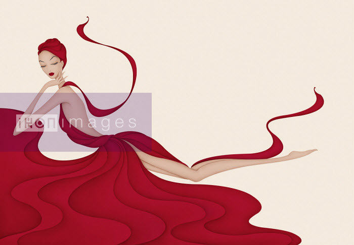 Fashion illustration of beautiful woman draped in flowing red gown Wai
