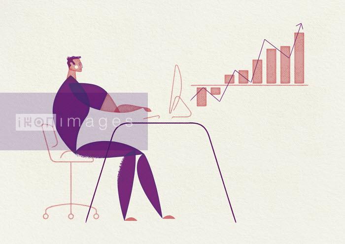 Ben Sanders - Businessman working on growth chart on computer
