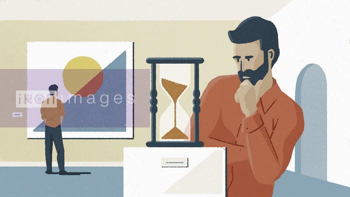 Paul Reid - Men looking at paintings and hourglass in art gallery