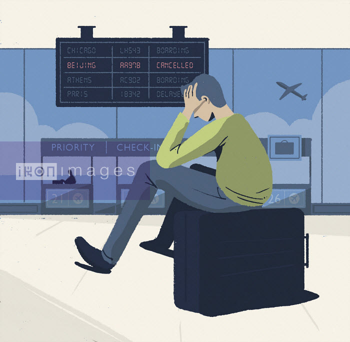 Paul Reid - Man at airport in despair at cancelled flight