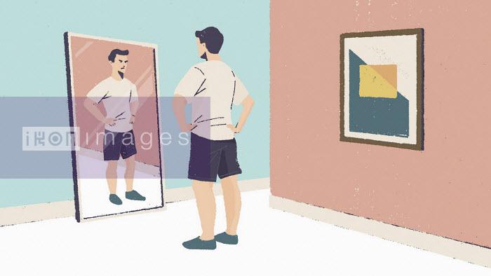 Paul Reid - Man unhappy at reflection in mirror