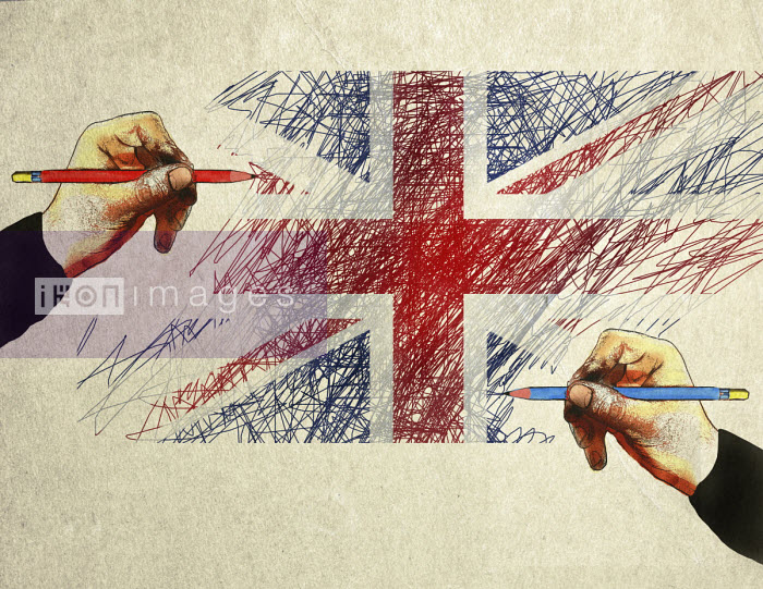 Blue and red pencils drawing Union Jack flag Gary Waters