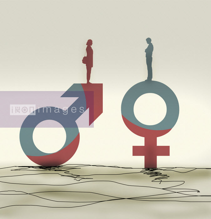 Woman standing on male symbol facing man on female symbol Gary Waters