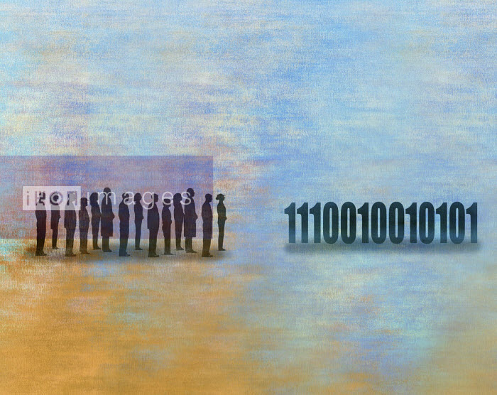 Line of people and line of binary code data Gary Waters
