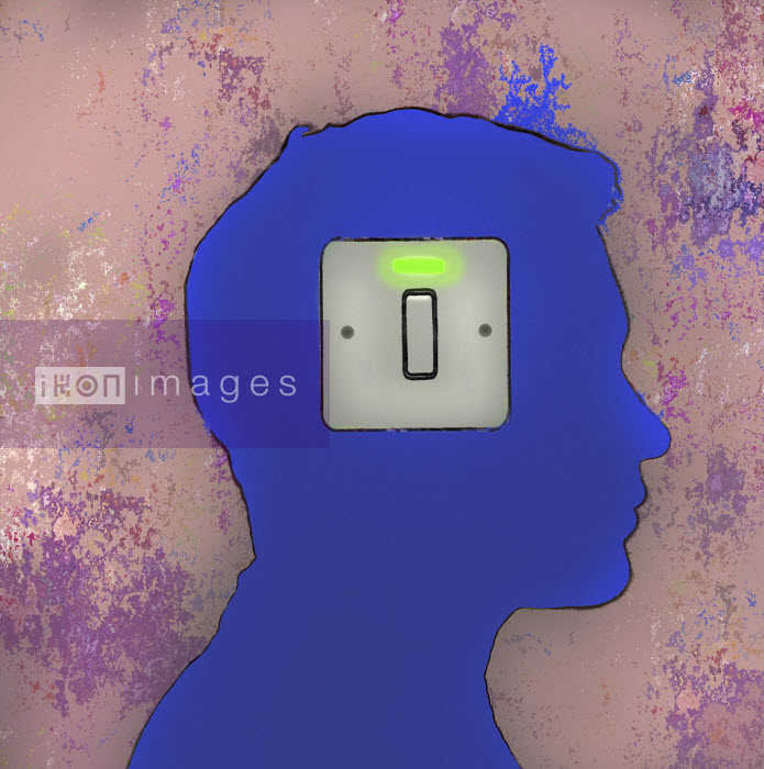 Electric switch lit up on man's head Gary Waters