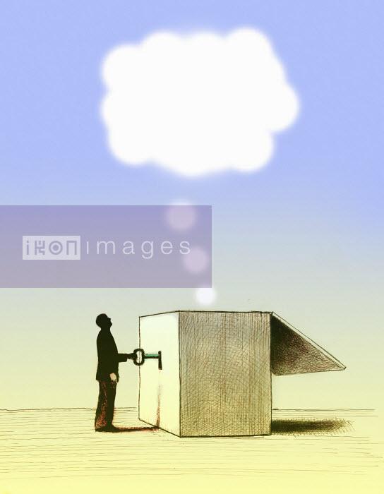 Man unlocking thought bubble from box Gary Waters