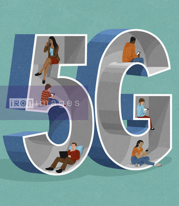 John Holcroft - People using 5G technology on different digital devices