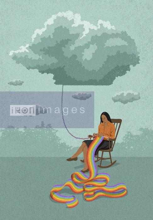 Woman knitting a rainbow from grey cloud John Holcroft