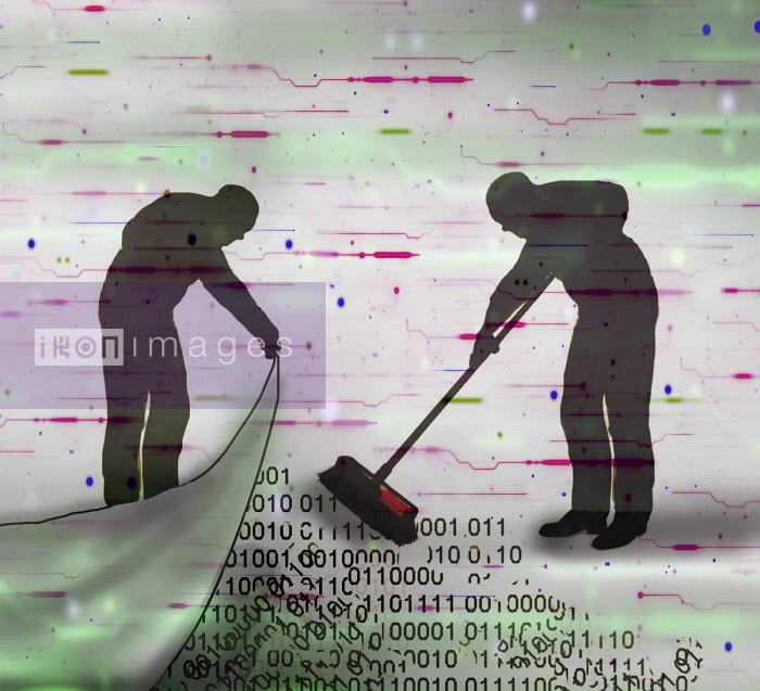 Man sweeping data under the carpet Gary Waters