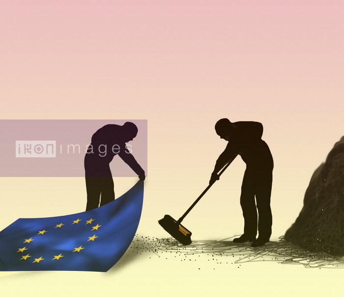 Man sweeping dirt under European Union carpet Gary Waters
