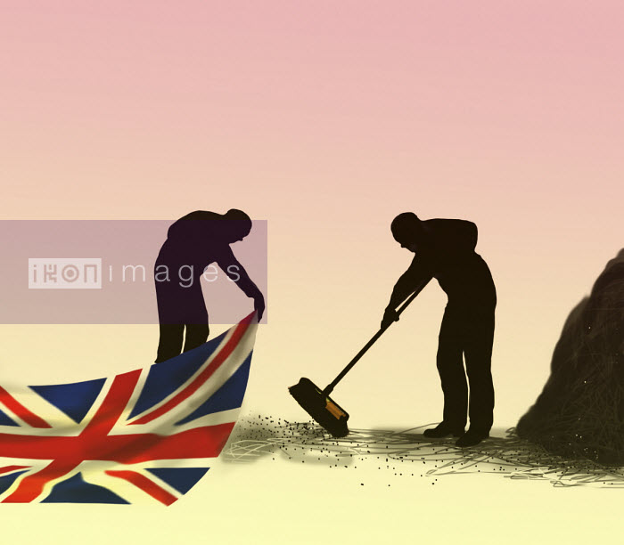 Man sweeping dirt under Union Jack carpet Gary Waters