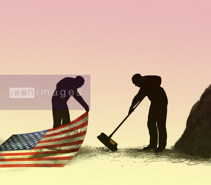 Gary Waters - Man sweeping dirt under Stars and Stripes carpet