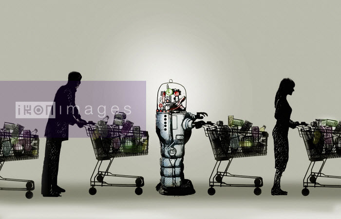 Robot with shopping trolley in supermarket queue Gary Waters