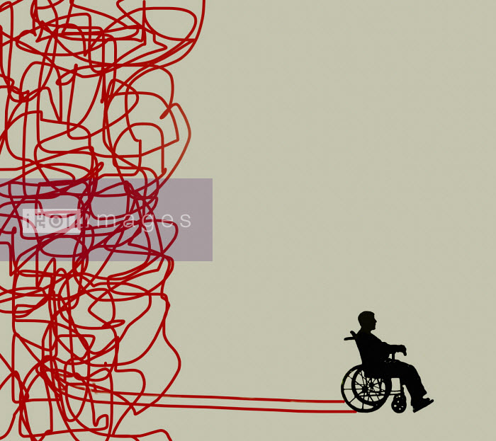 Gary Waters - Man in wheelchair on straight path emerging from tangle