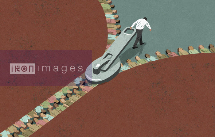 Man joining rows of different people forming zip - John Holcroft