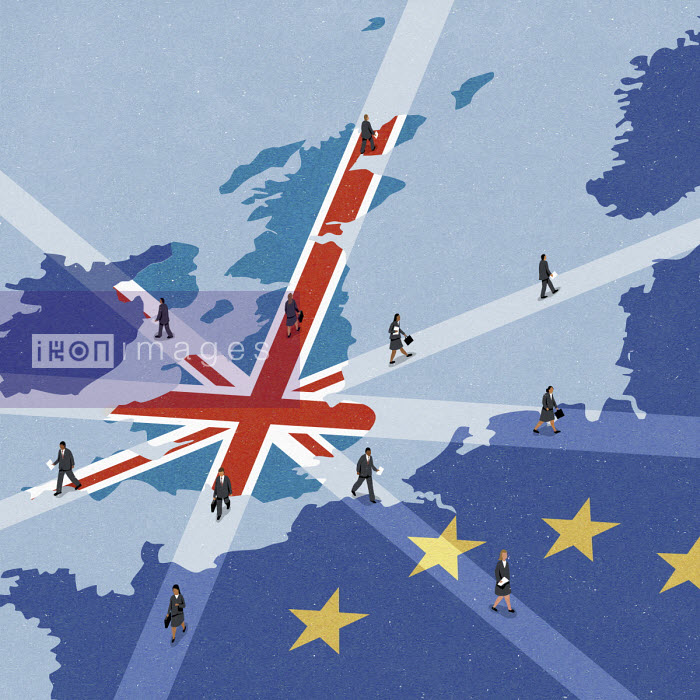 Business people leaving United Kingdom and going to the European Union John Holcroft