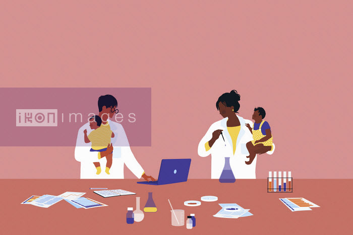 Alice Mollon - Scientists working in laboratory holding babies