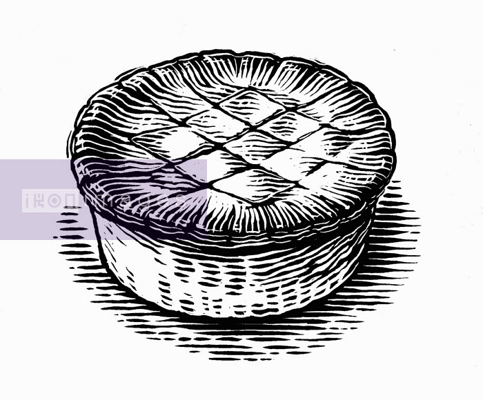 Black and white scraperboard engraving of pastry pie